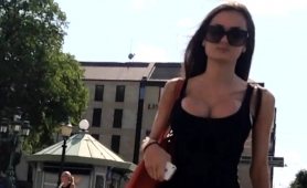 Street Voyeur Follows A Gorgeous Babe With Fabulous Big Tits