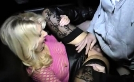 Sexy Blonde Milf In Stockings Enjoys Her Time With Two Guys