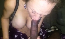 Hung Black Stud Has A Busty Blonde Blowing His Dick In Pov