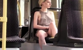 Sensuous Blonde Teen Flashes Her Tight Shaved Cunt In Public