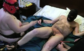 Fat Slave Getting His Poor Cock Tortured By Brutal Dommes