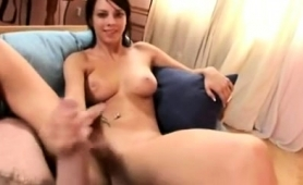 Playful Brunette With Nice Boobs Gives A Sensual Pov Handjob
