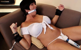 Big Breasted Brunette Milf Gets Tied Up And Is Made To Cum